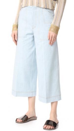 Укороченные брюки Texel Acne Studios. Цвет: небесно-голубой