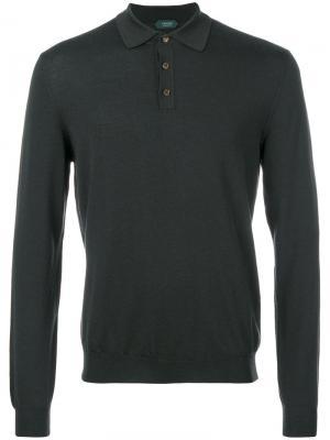 Рубашка-поло с длинными рукавами Zanone. Цвет: зелёный