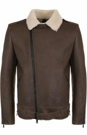 Укороченная дубленка с косой молнией и отложным воротником Giorgio Brato. Цвет: коричневый