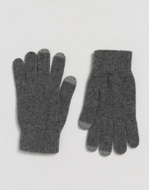Glen Lossie Серые кашемировые перчатки. Цвет: серый