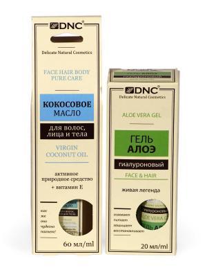 Набор для ухода за лицом, телом и волосами: Кокосовое масло (60 мл) Гель гиалуроновый Алоэ (20 DNC. Цвет: молочный, прозрачный, светло-желтый