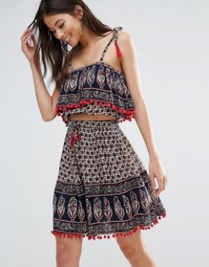 Anmol Мини-юбка с принтом и топом бандо. Цвет: мульти