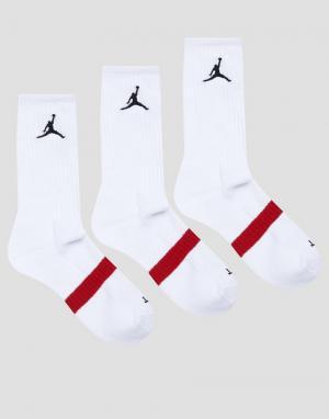 Jordan 3 пары белых носков Nike Drifit SX5241-100. Цвет: белый