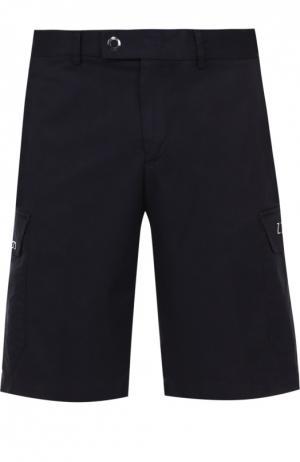 Хлопковые бермуды с карманами Z Zegna. Цвет: темно-синий