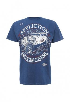 Футболка Affliction. Цвет: синий