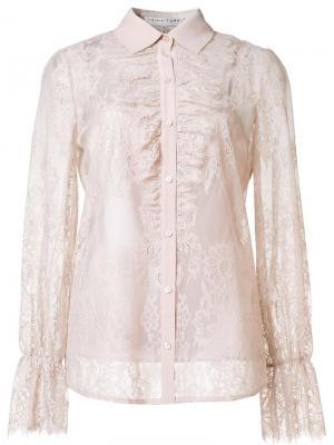 Прозрачная кружевная рубашка Trina Turk. Цвет: телесный