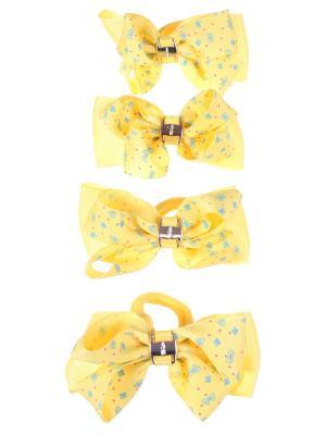 Резинки для волос бантики с золотой пряжкой принтом ромашка, 4 штуки, желтые Радужки. Цвет: розовый