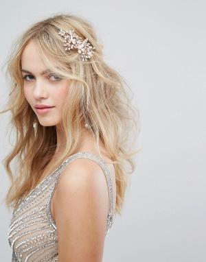 LoveRocks London Гребень для волос цвета розового золота с искусственным жемчугом LoveR. Цвет: золотой