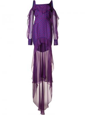 Многослойное платье в горошек J. Mendel. Цвет: синий