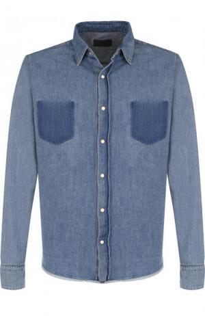 Рубашка из денима с потертостями RTA. Цвет: голубой