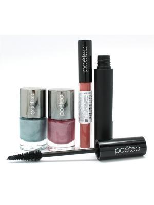 Промо-набор (лак для ногтей металлик 2 шт+тушь ресниц+тинт губ KISS ME) POETEQ. Цвет: голубой, розовый
