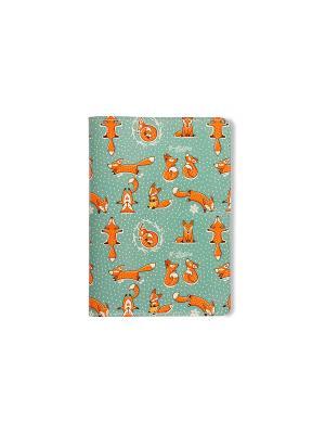 Обложка для паспорта  Лисики TonyFox. Цвет: зеленый, оранжевый