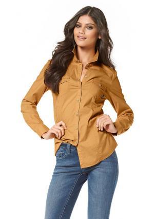 Джинсовая рубашка Arizona. Цвет: белый, серо-коричневый, темно-синий