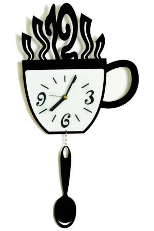 Часы Чашка и ложка W-ERA. Цвет: черный, белый