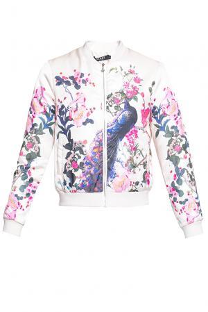 Укороченная куртка – пилот с цветочным принтом PZ-2014 Sense. Цвет: разноцветный
