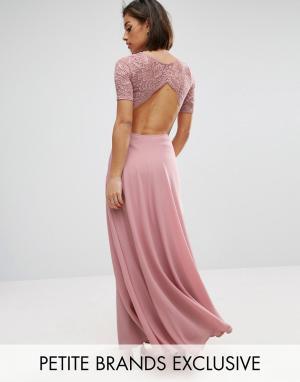 John Zack Petite Платье макси с кружевным лифом и вырезами. Цвет: розовый