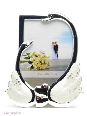 Фоторамка Лебеди, украшенная стразиками, олицетворяющая верность и любовь, формата 10х15см PLATINUM quality. Цвет: серебристый, молочный