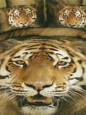 Комплект постельного белья, Тигр, 1.5 спальный KAZANOV.A.. Цвет: коричневый