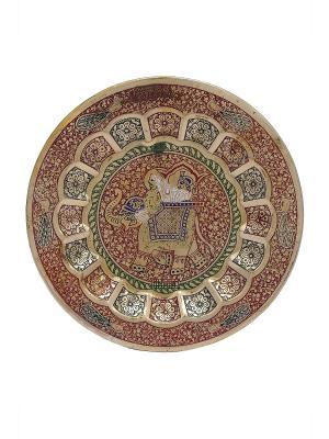 Тарелка декоративная ETHNIC CHIC. Цвет: зеленый, золотистый, красный