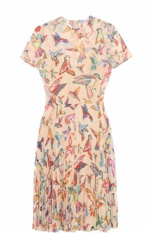 Приталенное платье с плиссированной юбкой и контрастным принтом REDVALENTINO. Цвет: разноцветный