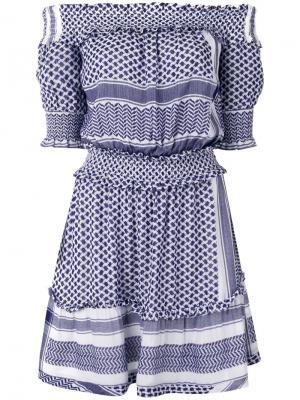 Платье с открытыми плечами Cecilie Copenhagen. Цвет: синий