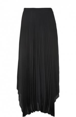 Плиссированная юбка-макси с асимметричным низом Helmut Lang. Цвет: темно-синий