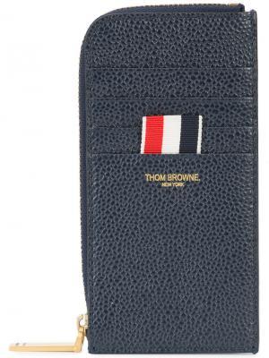 Half Zip Around Wallet With Contrast 4-bar Stripe In Pebble Grain & Calf Leather Thom Browne. Цвет: синий