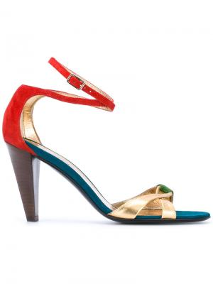 Босоножки на наборном каблуке Michel Vivien. Цвет: металлический