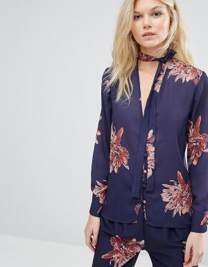Alter Petite Блузка в пижамном стиле с цветочным принтом. Цвет: мульти
