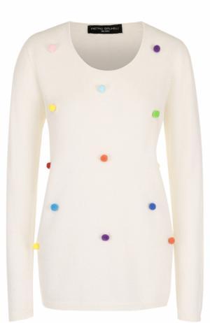 Пуловер с круглым вырезом и контрастной отделкой Pietro Brunelli. Цвет: белый
