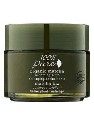 Коллекция Зелёный Чай Matcha: органический выравнивающий скраб для лица. 100% Pure. Цвет: кремовый