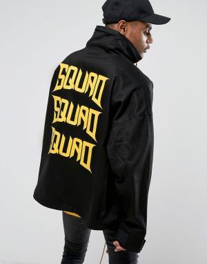 Vision Air Черная куртка с воротником-труба и принтом на спине Visionair. Цвет: черный