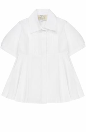 Хлопковая блуза с защипами и поясом Caf. Цвет: белый