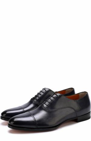 Классические кожаные оксфорды Santoni. Цвет: темно-синий