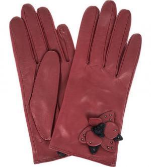 Красные перчатки из натуральной кожи ELEGANZZA. Цвет: красный
