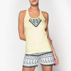 Пижама с шортами из хлопка этническим рисунком и помпонами, Wax DODO. Цвет: желтый/рисунок