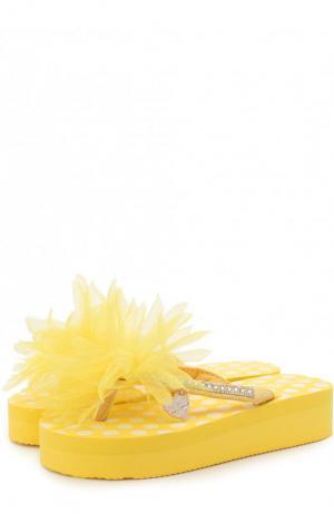 Шлепанцы с декоративной отделкой Monnalisa. Цвет: желтый