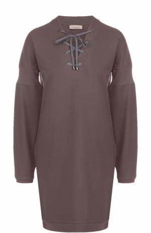 Хлопковое платье со шнуровкой Zimmerli. Цвет: коричневый