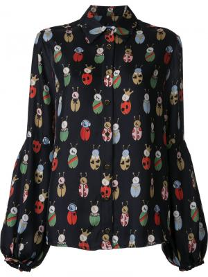 Блузка с принтом жуков Macgraw. Цвет: чёрный