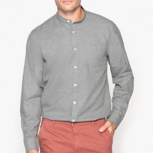 Рубашка-слим с воротником-мао, 100% хлопок La Redoute Collections. Цвет: серо-коричневый каштан,серый