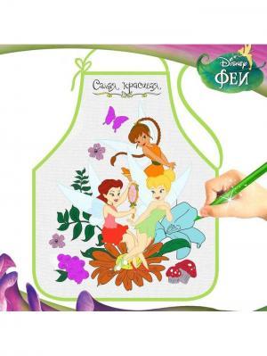 Фартук для девочек Самая красивая, Феи, 40х50 см Disney. Цвет: зеленый,салатовый,светло-оранжевый,красный,фуксия,розовый