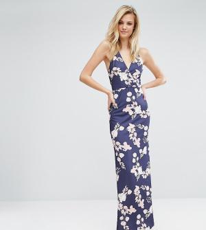 Oh My Love Tall Платье макси с открытой спиной и цветочным принтом. Цвет: темно-синий