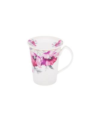 Кружка с розеткой Серебристый мак Elan Gallery. Цвет: белый,серебристый,лиловый