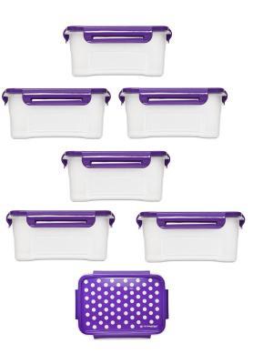 Комплект из 6х контейнеров Горох для СВЧ. Объемом: 0,75л. Полимербыт. Цвет: сиреневый