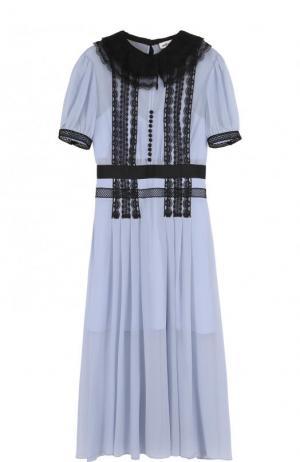 Приталенное платье-миди с контрастной отделкой self-portrait. Цвет: голубой