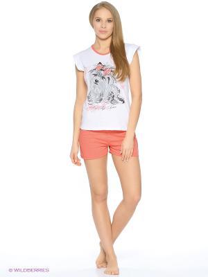 Пижама-футболка, шорты FORLIFE. Цвет: коралловый, белый