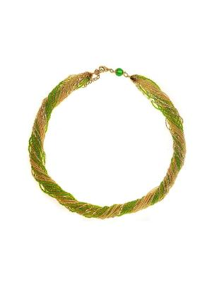 Бисерное ожерелье Bottega Murano. Цвет: зеленый, золотистый