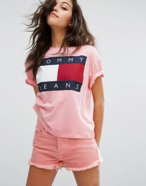 Tommy Jeans Футболка в стиле 90-х с логотипом. Цвет: розовый