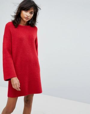 ASOS Вязаное оверсайз-платье мини. Цвет: оранжевый