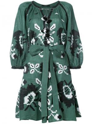 Платье с вышивкой и кисточками Vita Kin. Цвет: зелёный